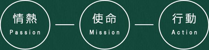 「Passion:情熱」「Mission:使命」「Action:行動」